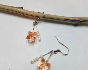 Peach & Pearl Earrings