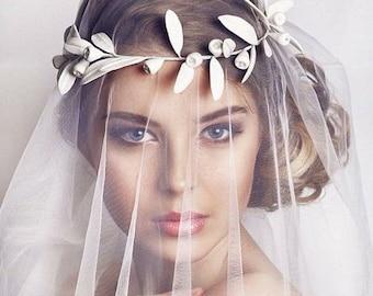 Greek leaf crown, bridal crown, wedding crown, bridal tiara, wedding leaf crown, Bridal leaf headpiece, greek wedding, leaf hair accessory