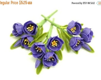 Polymer Clay Supplies Pasque Flower with set of leaves, 3 stems