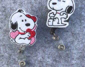 Snoopy Charlie Brown Peanuts Gang Inspired Hearts Nurse Badge Holder Clip Retractable Reel