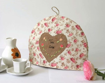 Tea Cosy In Romantic Design,  Pink Flowers Tea Cozy,  Fabric Warmer Tea Pot , Linen Tea Cosy, Embroidered Linen Tea Cozy