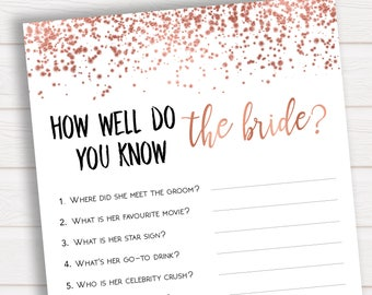 Do you Know the Bride to Be, Rose Gold Bridal Shower, How Well do you Know the Bride, Do you Know the Bride, Bachelorette Party Games