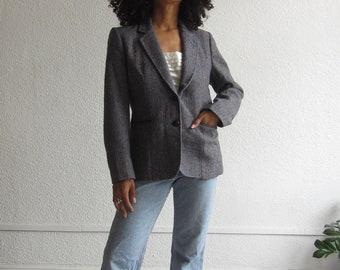 Vintage wool blazer 90s micro plaid blazer Womens jacket