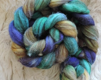 Shetland,mix, Eyes of Mermaid,115gr handpainted top-roving for spinning and felting