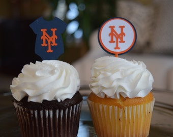 NY Mets Cupcake Topper, MLB Cupcake Topper, MLB Baby Shower, New York Mets  Baby Shower, New York Mets Decoration, New York Mets Party