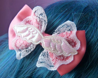 Iridescent Angel Wings Pink Bow Hair Clip
