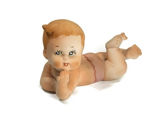 VINTAGE BABY FIGURINE Pink Diaper Baby Bisque Mid Century Cute Baby Girl Knick Knack Blond Ginger Piano Baby