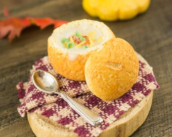 Miniature Loaded Baked Potato Soup in a Bread Bowl - 1:12 Dollhouse Miniature