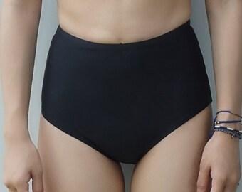 Joe High Waist Bikini Bottom in Black Petite Swimsuit Bathing suit Summer Swimwear Gift Vintage retro style