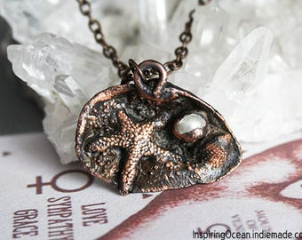 Copper seashell mermaid electroformed necklace pendant with starfish and pearl