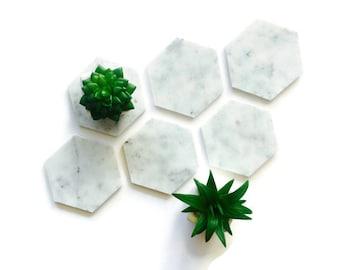 Carrara Marble Hexagon Coasters