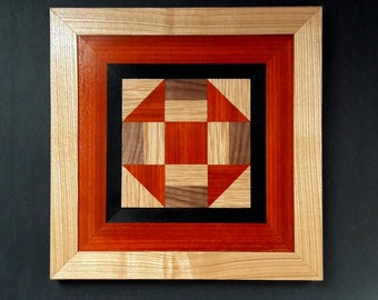 Framed Wood Quilt Block, Churn and Dash, Quail's Nest, Wood Quilt Art Wall Hanging