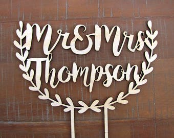 CUSTOM NAME CAKETOPPER, floral wooden wedding cake topper for engagement, wedding, special occasion