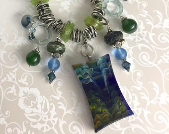Borosilicate Glass Under the Sea Mermaid Kevin O-Grady Watermelon Tourmaline Jade Necklace