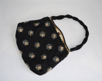 Vintage 50s 60s Pink Roses Floral Black Beaded Purse Bag Handbag Clutch 1960s 1950s VLV