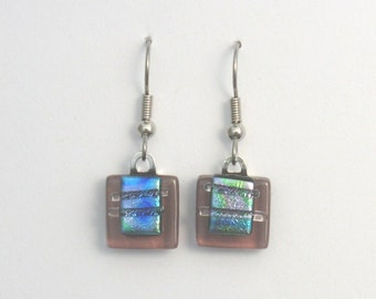 Pink dichroic glass earrings,  Fused glass jewelry, Art glass earrings, Dangle earrings, Kiln fired glass earrings, Fused glass, EA137