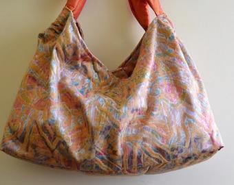 Summer hobo bag in ochre fabric - Handmade cloth bags - Shoulder bags - Big summer bags - Elegant bag - Handmade handbags - Cloth women bags