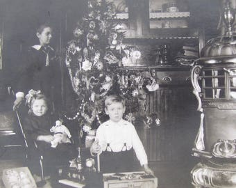 A Very Special Christmas - 1910's Wealthy Children At Christmas RPPC Real Photo Postcard - Free Shipping