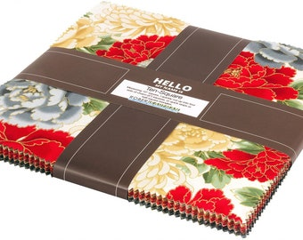 "Robert Kaufman Imperial Collection Crimson 10"" Layer Cake"