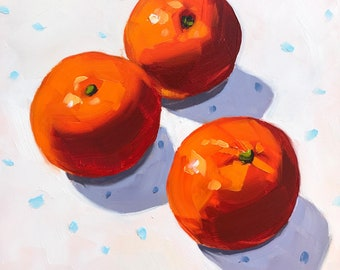 Still life painting- Cuties - 6x6  Clementine oil painting by Sharon Schock