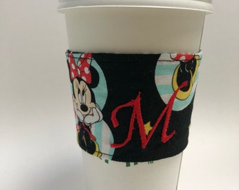 Personalized coffee cozy/ coffee lover/minnie mouse/fabric/black and red