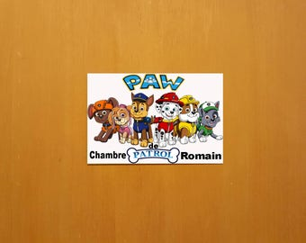 "Door PVC ""paw patrol"" personalized (name of child)."