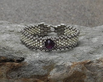 Free Form Peyote Stitch Beaded Bracelet - Bead Weaving -  Amethyst Cabochon - Silver Galvanized  BOHO
