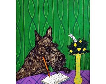 Scottish Terrier Writing in a Journal Dog Art Print