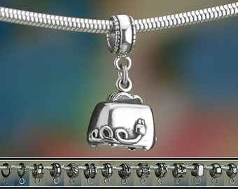 Sterling Silver Toaster Charm or European Style Charm Bracelet .925