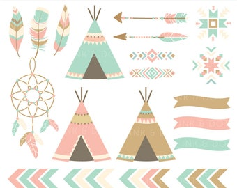 Tribal Elements Clipart, Teepee, Navajo, Southwestern, Indian Digital Clipart, Tribal Clip Art, Dreamcatcher, Arrows - Instant Download