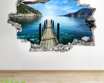 Paradise Beach Pier Wall Sticker 3d Look - Ocean Sea Beach Bedroom Lounge Z52