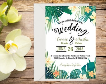 Tropical Wedding Invitation with Setup, Destination Wedding, Beach Wedding, Tropical Wedding, Printable Wedding, Wedding invitation