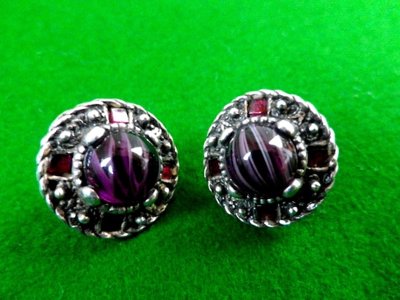 Silver plated antique style earrings, purple cabochon and faux rubies