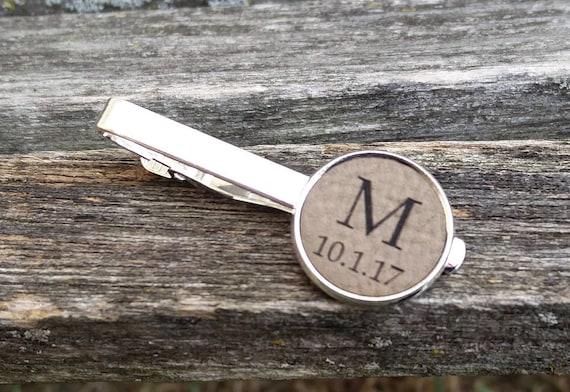 Monogram Tie Clip. Leather, Laser Engraved. Wedding, Groom, Groomsmen Gift, Dad, Father Of The Bride