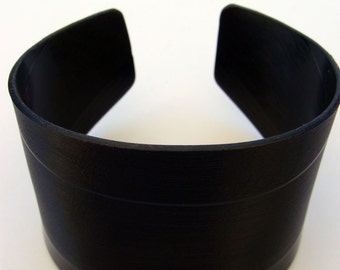 Men's Basic Black Recycled Vinyl Record Cuff. Classic Style