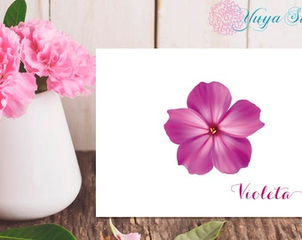 flower Thank You Cards / violet flower stationery / personal flower Stationery Set / personalized violet thank you cards / Set of 12