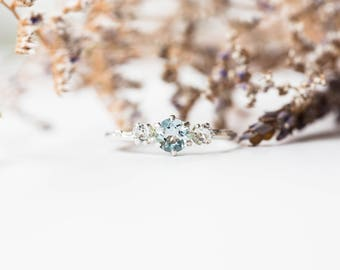 Aquamarine sterling silver twig engagement ring, aqua topaz engagement ring, sterling silver twig engagement ring, topaz engagement