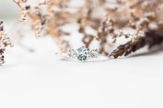Aquamarine sterling silver twig engagement ring, aqua topaz engagement ring, sterling silver twig engagement ring, topaz engagement