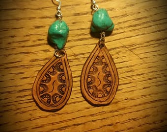 Carved leather earrings