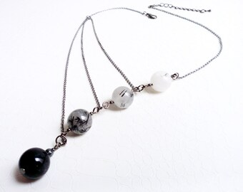 Necklace 'Séraphine' - Black and white agate gemstone asymmetrical necklace - Boho chic, gift for her, statement necklace, handmade jewelry