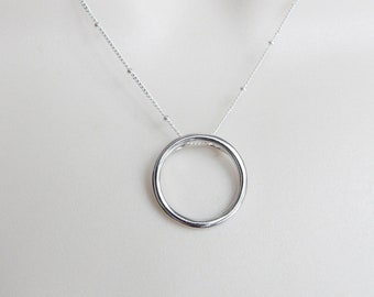 Sterling Silver  karma  necklace. sterling silver circle necklace, sterling silver round necklace