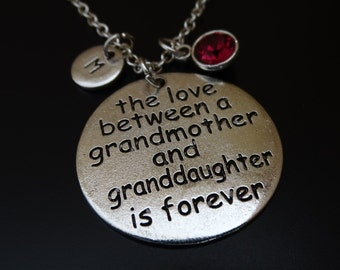 The Love between a Grandmother and Granddaughter is forever Necklace, Grandmother Gift, Grandmother Necklace, Grandmother Granddaughter Gift