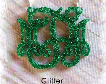 Acrylic Monogram Necklace (Monogram 3 Initial Custom Jewelry ) - Beautiful Personalized Gift , Monogram Gift