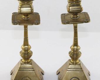 Art deco brass French candlesticks