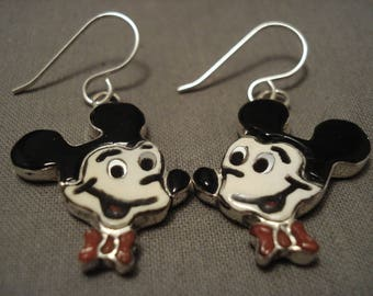 Incredibly Detailed Mickey Coral Silver Earrings