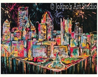 Pittsburgh skyline wall art, Pittsburgh art, Fireworks painting, modern wall art, man cave wall art,  Print by Johno