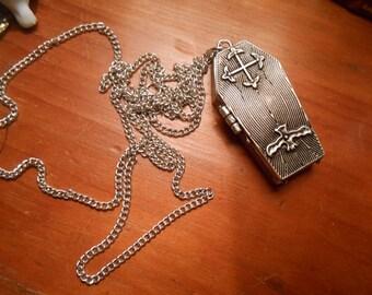 SALE !! COFFIN  Locket Necklace >Antiqued Pewter> morbid-Pills-VINTAGE Death