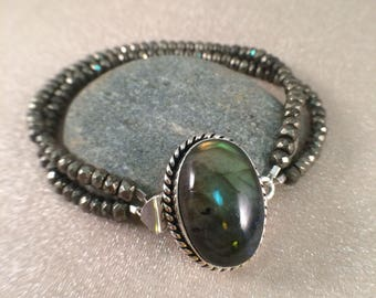 Double strand labradorite and pyrite bracelet free shipping