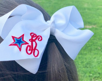 Monogrammed patriotic hair bow embroidered red white and blue 4th of July hair bow 6 inch bow