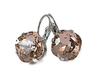 Vintage Rose Square Stone Crystal Earrings, Vintage Rose Earrings with Crystal from Swarovski, 4470 12mm